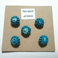 Handmade yorkshire buttons blue (pack of 5)