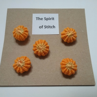 Handmade yorkshire buttons orange yellow (pack of 5)