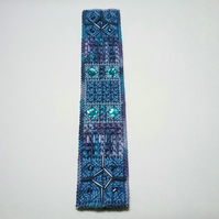 Hand embroidered beaded bookmark blue mauve