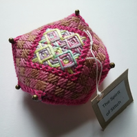 Hand embroidered pincushion