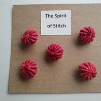 Handmade yorkshire buttons pink red (pack of 5)