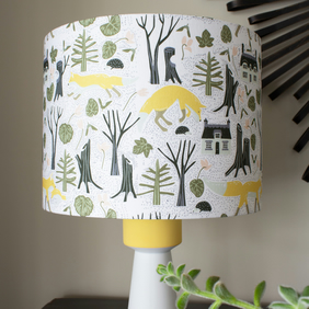 Woodland Foxes Handmade Lampshade