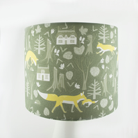 Green Woodland Foxes  Handmade Lampshade