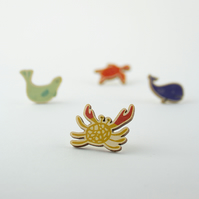 Crab & Seal Ocean Pin Badges