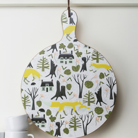 Round Woodland Foxes Chopping Board