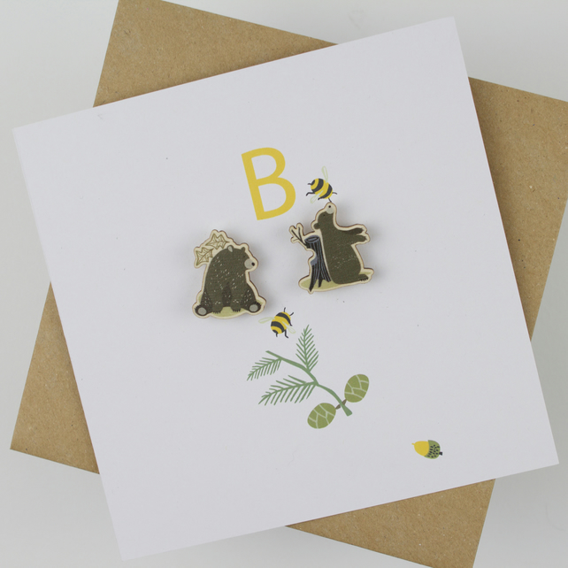 Personalised Card with 2 Wooden Bear Pin Badges