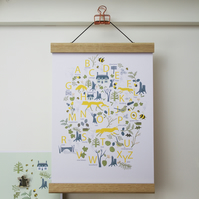 Woodland animals ABC Poster with hanger