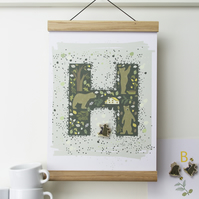 `Woodland Bears Personalised Poster with Bear Pin Badge