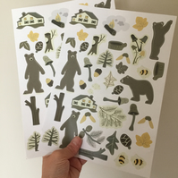 Bears and woodland wall stickers