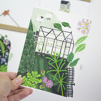 Greenhouse allotment Giclee Print A4