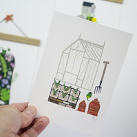 Greenhouse & Cloche Giclee Print A5