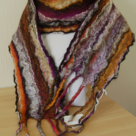 Beautiful Hand-dyed, Hand-felted Scarf