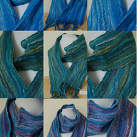 Beautiful Merino and Wild Silk, Hand-felted Scarf