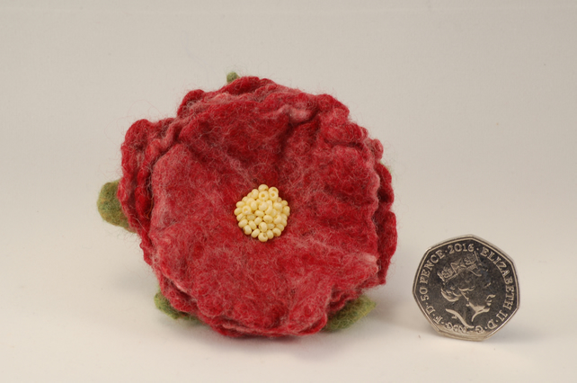 Hand Felted and Beaded Flower Brooch