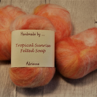 Felted Soap, Vegetarian Friendly, Unique Gift - Tropical Sunrise