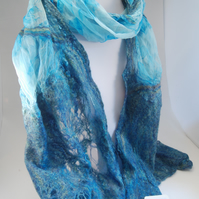 OOAK Chinese Silk and Merino Nuno Felted Scarf Shawl in Blues and Turquoise