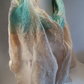 OOAK Indian Silk and Merino Nuno Felted Scarf Shawl in Cream and Aqua