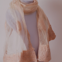 OOAK Chinese Silk Chiffon and Merino Nuno Felted Scarf Shawl in Cream