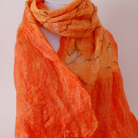 OOAK Chinese Silk Chiffon and Merino Nuno Felted Scarf Shawl in Orange