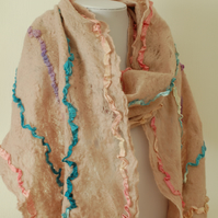 OOAK Merino and Recycled Sari Silk Scarf Shawl in Pinks and Blues