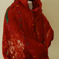 OOAK Merino and Recycled Sari Silk Scarf in Cinnamon Red