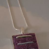 Silver plated pendant with hand embroidered felt cabochon (Nickel Free)