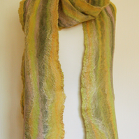 Cobweb Felted Merino Wool and Silk Scarf - Fields of Gold
