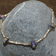 Handmade Sterling Silver Bracelet with Thai Bamboo beads and Lampwork Bads