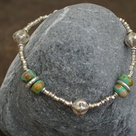 Handmade Thai Hill Tribe Silver Bracelet with Lampwork Beads