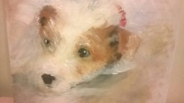 Jack Russell puppy painting card
