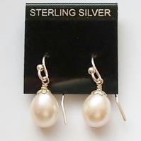 Pearl Earrings, Premium Quality Ivory Fresh Water Pearls with Silver Hooks ,