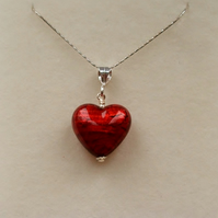 Scarlet Murano Foiled Glass Heart pendant with Sterling Silver