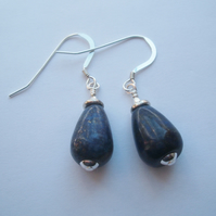 Lapis Lazuli Drop Earrings with Sterling Silver Hooks