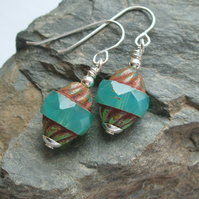 "Pretty Czech Glass ""Flying saucer"" Earrings with Silver hooks"