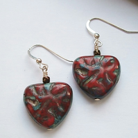 Rustic Red Triangular Czech Glass Earrings with Hallmarked Sterling Silver Hooks
