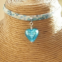 Liberty of London Print Fabric with Blue Murano Glass Heart Choker Necklace
