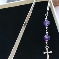 Amethyst Cross Bookmark;  Christian Bookmark; Silver-plated Amethyst Bookmark;