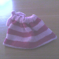 Hand Knitted Pink and Purple Drawstring Bag for Cosmetics, Jewellery, Underwear