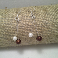 STERLING SILVER AND PEARLS - DANGLE EARRINGS