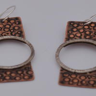 STERLIG SILVER AND COPPER EARRINGS - Negative Space