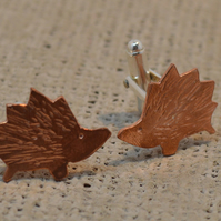 STERLING SILVER AND COPPER CUFFLINKS - Hedgehog