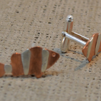 STERLING SILVER AND COPPER CUFFLINKS - NEMO