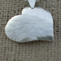 STERLING SILVER REPOUSSE TEXTURED HEART PENDANT