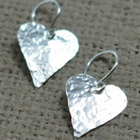Sterling silver textured heart earrings