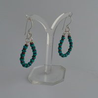 BEADED STERLING SILVER TEARDROP EARRING, Turquoise and Copper, Gifts for Women