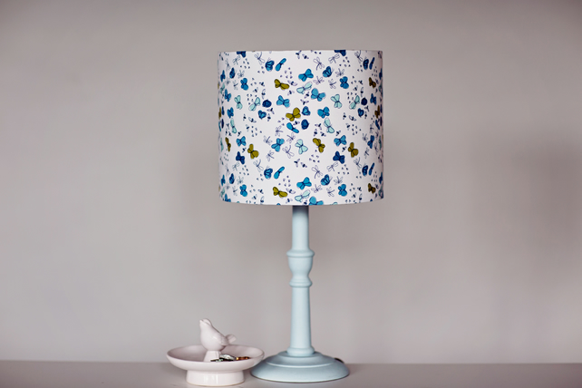 Blue butterfly, lampshade, butterfly lampshade, blue and white lamp, fabric lamp