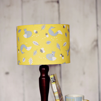 Yellow lampshade, Fox Lamp shade, Woodland lampshade, Drum Lampshade, Fox lamp