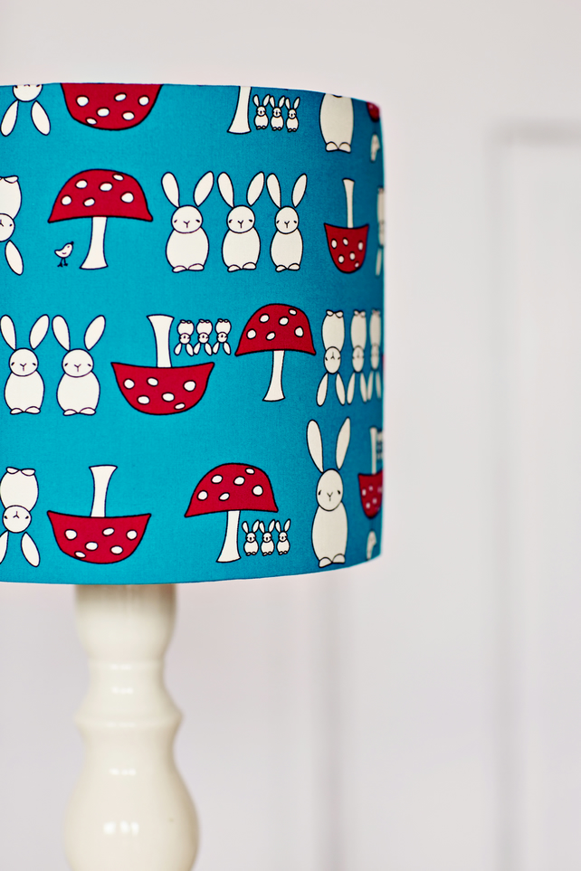 Children's lampshade, blue lampshade, red lampshade, rabbit nursery, blue lamp