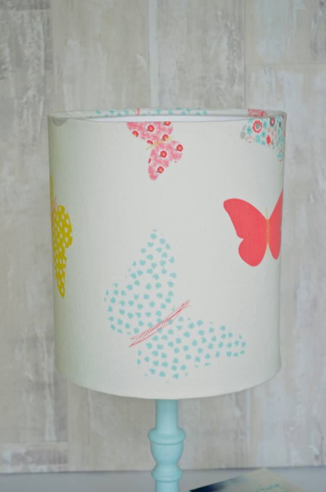 Pastel lampshade, butterfly lampshade, butterfly décor, lampshade,pink lampshade