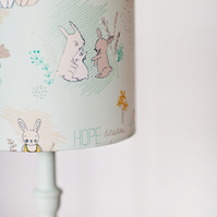 Nursery lamp shade, Pastel blue, Rabbit lamp, nursery décor, drum lampshade